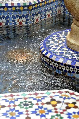 Photograph - Blue Mosaic Fountain I by Bonnie Myszka