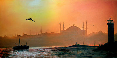Painting - Blue Mosque At Sunset by Rafay Zafer