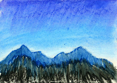 Mountain Drawing - Blue Mountains by Hakon Soreide