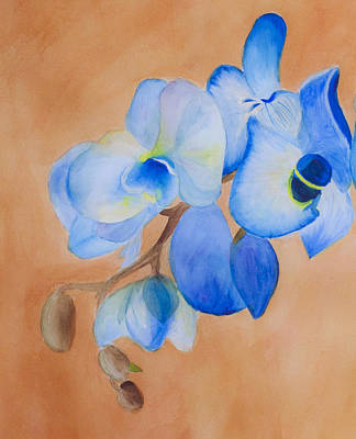 Remodernist Painting - Blue Mystique Orchid by Donna Walsh
