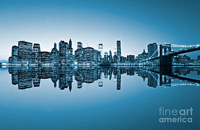 Art Print featuring the photograph Blue New York City by Luciano Mortula