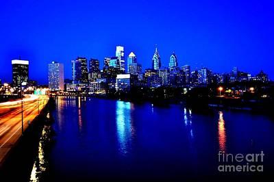 Blue Night Philadelphia  Art Print by Bener Kavukcuoglu