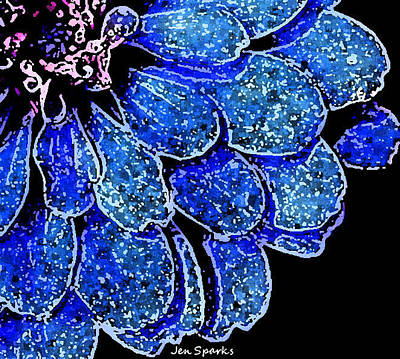 Mixed Media - Blue On Black by Jen Sparks