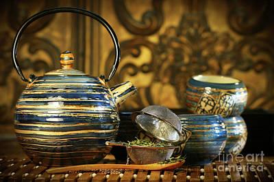 Blue Oriental Teapot With Cups  Art Print by Sandra Cunningham