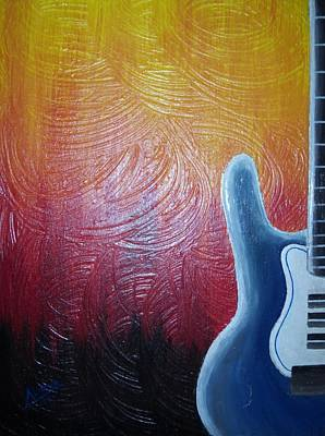 Art Print featuring the painting Blue Over Fire by Edwin Alverio