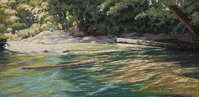Art Print featuring the painting Blue Parasol At Whatcom Falls by Kurt Jacobson