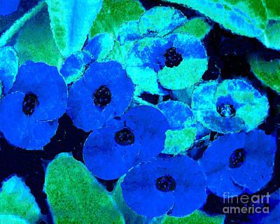 Photograph - Blue Petunias - Digital Computer Art by Merton Allen