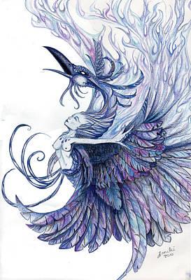 Wiccan Drawing - Blue Phoenix by Lorelei  Marie