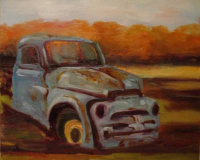 Art Print featuring the painting Blue Pickup by Carol Berning