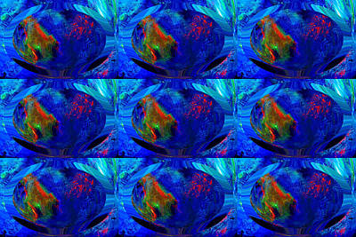 Digital Art - Blue Planet - Tiled by Colleen Cannon