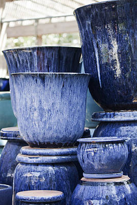 Blue Pots For Sale Print by Teresa Mucha