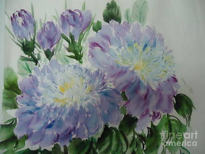 Art Print featuring the painting Blue Purple Flower by Dongling Sun