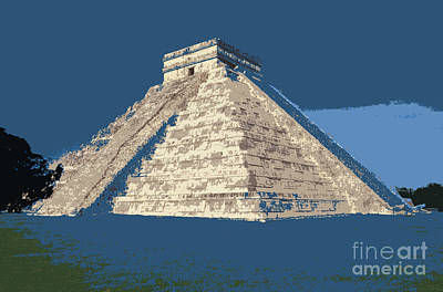 Photograph - Blue Pyramid Chichen Itza Mexcio by John  Mitchell