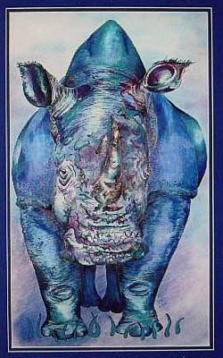 Mixed Media - Blue Rhino by Karen Camden Welsh