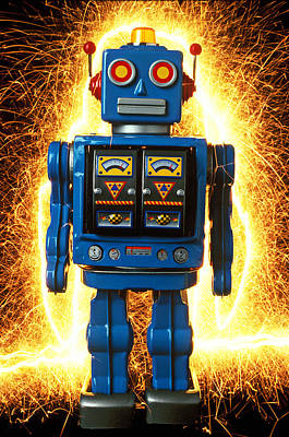 Photograph - Blue Robot With Sparks by Garry Gay
