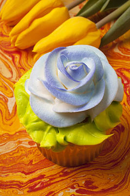 Blue Rose Cup Cake Art Print