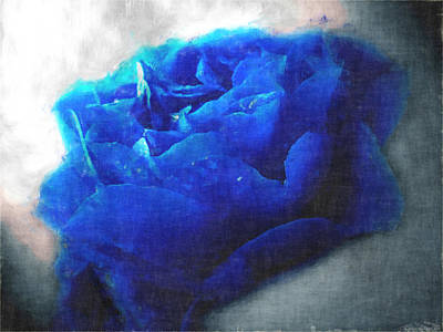 Art Print featuring the digital art Blue Rose by Debbie Portwood
