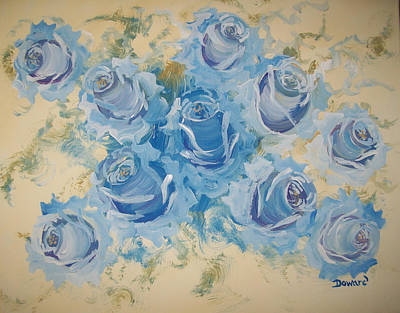 Blue Roses Abstract Art Print