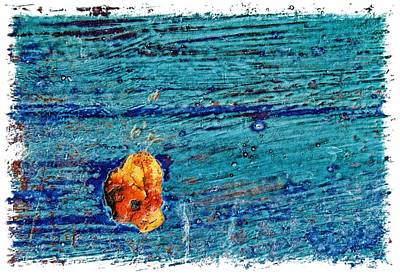 Blue Rusted Steel Painted Background Art Print