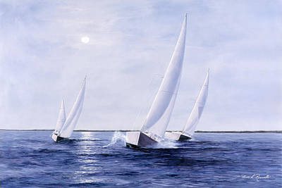 Moon Painting - Blue Sails by Diane Romanello