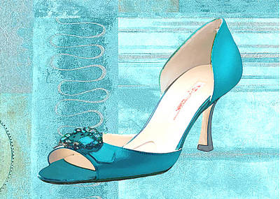 Footwear Painting - Blue Satin Ball Gown Pump by Elaine Plesser