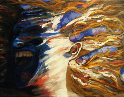 Painting - Blue Scream In Progress Working Title  by Katherine Huck Fernie Howard