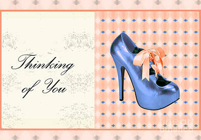 Blue Shoe On Pink Greeting Card Expresses Thinking Of You Art Print by Maralaina Holliday