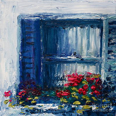 Blue Shutters Print by Yvonne Ayoub