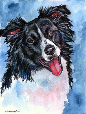 Herding Dog Painting - Blue Skies - Border Collie by Lyn Cook