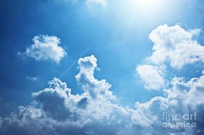 Blue Sky Background Art Print by Anna Om