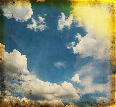 Aging Photograph - Blue Sky On Old Grunge Paper by Setsiri Silapasuwanchai