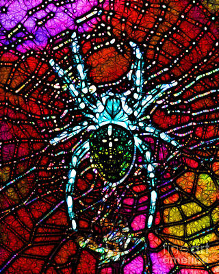 Photograph - Blue Spider In Abstract by Wingsdomain Art and Photography