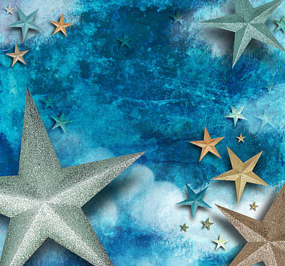Photograph - Blue Star Art Holiday Background by Angela Waye
