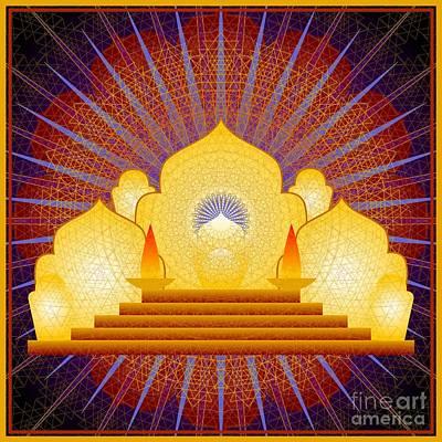 Digital Art - Blue Sun Temple 2012 by Kathryn Strick