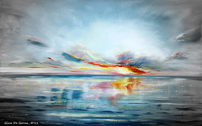 Painting - Blue Sunset 77 by Gina De Gorna