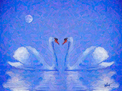 Swan Mixed Media - Blue Swans by Michael Petrizzo