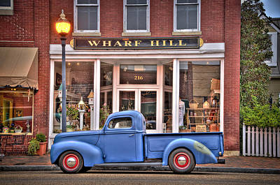 Smithfield Photograph - Blue Truck On Main Street by Williams-Cairns Photography LLC