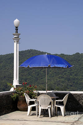 Photograph - Blue Umbrella On The Patio  Xilitla Mexcio by John  Mitchell