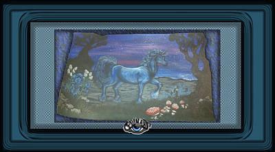 Devon Mixed Media - Blue Unicorn by Devon Wilson