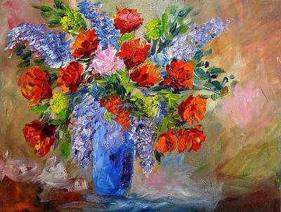 Painting - Blue Vase Floral by Mary Jo Zorad