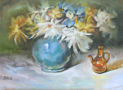 Blue Vase Art Print by Patricia Seitz