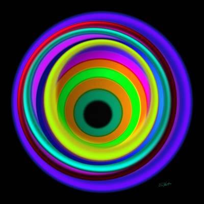 Op Art Painting - Blue Vortex by Charles Stuart