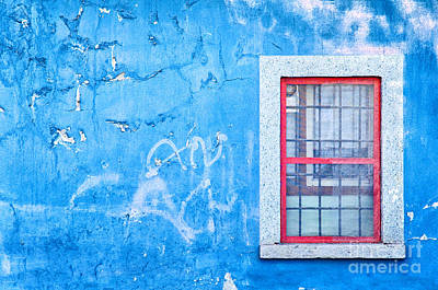 Blue Wall And Window With Red Frame Art Print by Silvia Ganora