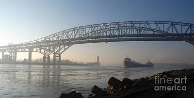 Photograph - Blue Water Bridges And Ship Headed North by Ronald Grogan