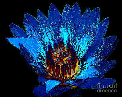 Surreal Reality Photograph - Blue Waterlily - Digitally Painted Art  by Merton Allen