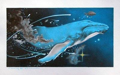 Humpback Whale Drawing - Blue Whale's Dream by Connery Carson