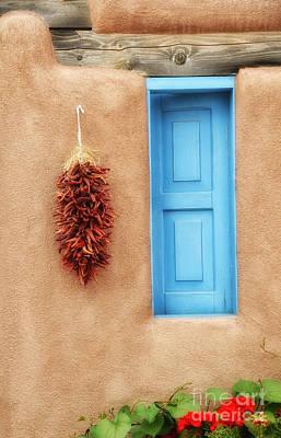 Blue Window Chillies Art Print