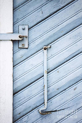 Print featuring the photograph Blue Wooden Wall With Metal Hook by Agnieszka Kubica
