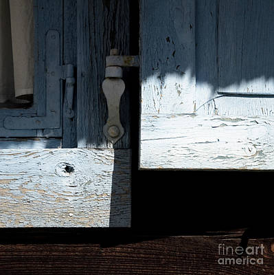 Print featuring the photograph Blue Wooden Window Shutters by Agnieszka Kubica