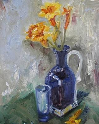 Blue Yellow Floral Art Print